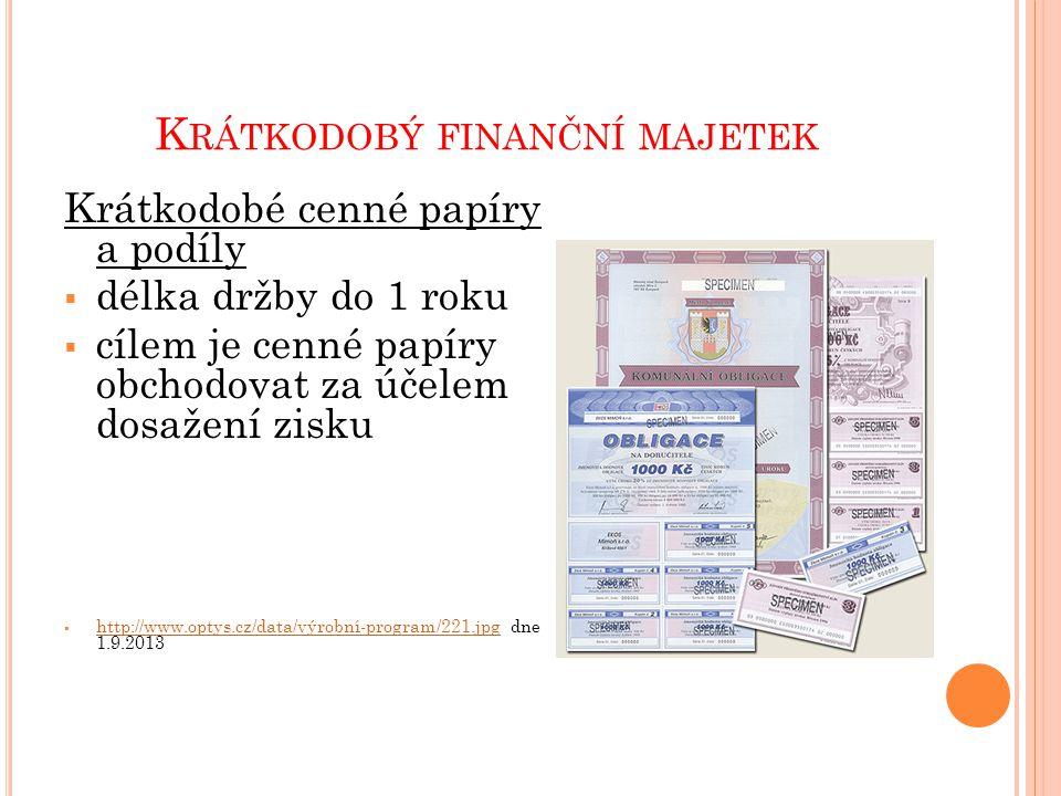 K RÁTKODOBÝ FINANČNÍ MAJETEK Krátkodobé cenné papíry a podíly  délka držby do 1 roku  cílem je cenné papíry obchodovat za účelem dosažení zisku  http://www.optys.cz/data/výrobní-program/221.jpg dne 1.9.2013 http://www.optys.cz/data/výrobní-program/221.jpg