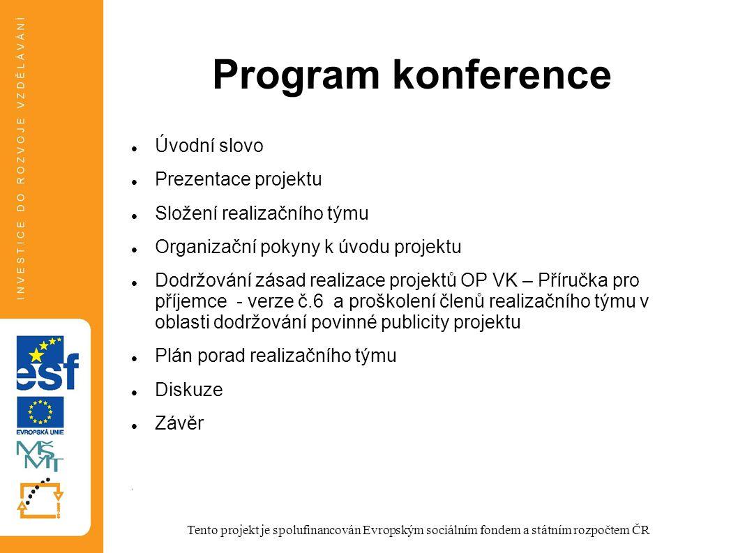 Program konference Úvodní slovo Prezentace projektu Složení realizačního týmu Organizační pokyny k úvodu projektu Dodržování zásad realizace projektů