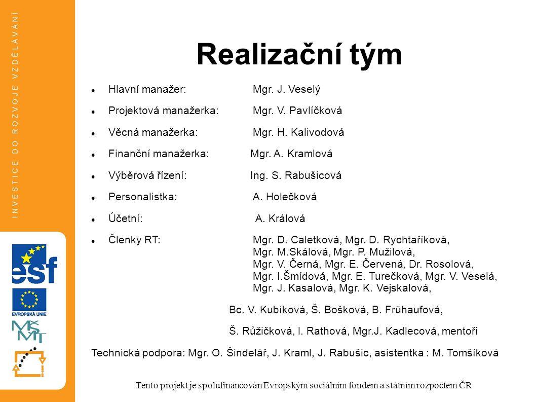Realizační tým Hlavní manažer:Mgr. J. Veselý Projektová manažerka:Mgr. V. Pavlíčková Věcná manažerka:Mgr. H. Kalivodová Finanční manažerka: Mgr. A. Kr