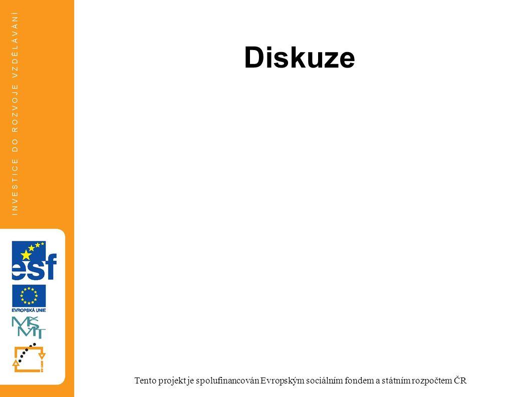 Diskuze Tento projekt je spolufinancován Evropským sociálním fondem a státním rozpočtem ČR