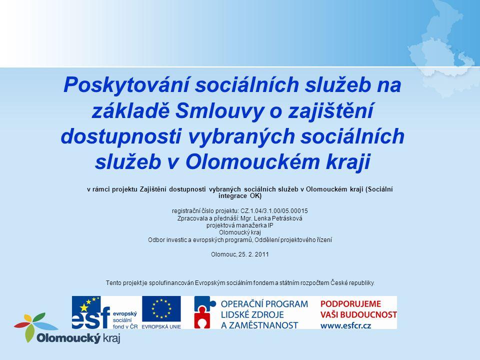 Poskytování sociálních služeb na základě Smlouvy o zajištění dostupnosti vybraných sociálních služeb v Olomouckém kraji v rámci projektu Zajištění dostupnosti vybraných sociálních služeb v Olomouckém kraji (Sociální integrace OK) registrační číslo projektu: CZ.1.04/3.1.00/05.00015 Zpracovala a přednáší: Mgr.
