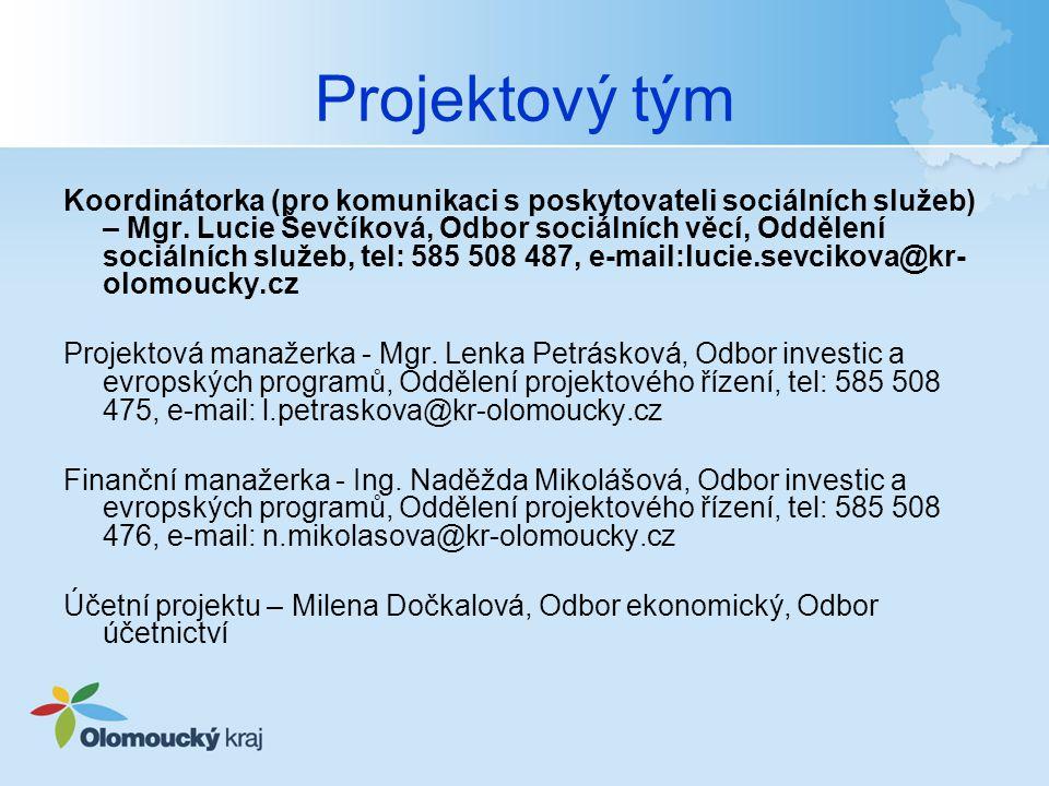 Projektový tým Koordinátorka (pro komunikaci s poskytovateli sociálních služeb) – Mgr.