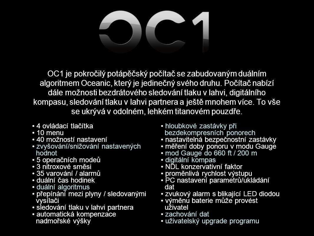 OC1 je pokročilý potápěčský počítač se zabudovaným duálním algoritmem Oceanic, který je jedinečný svého druhu.