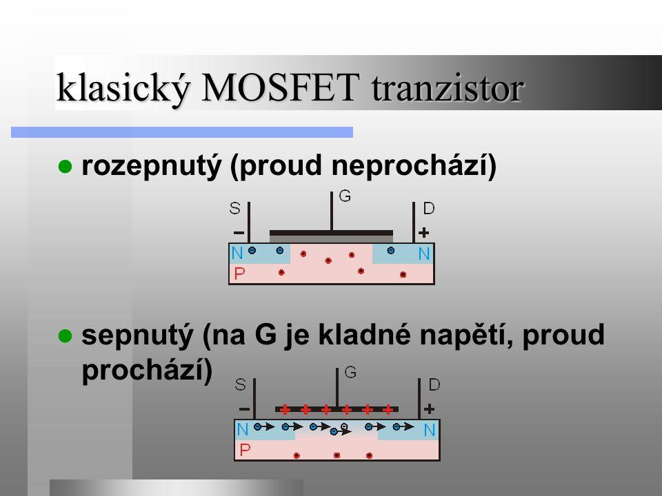 klasický MOSFET tranzistor rozepnutý (proud neprochází) sepnutý (na G je kladné napětí, proud prochází)
