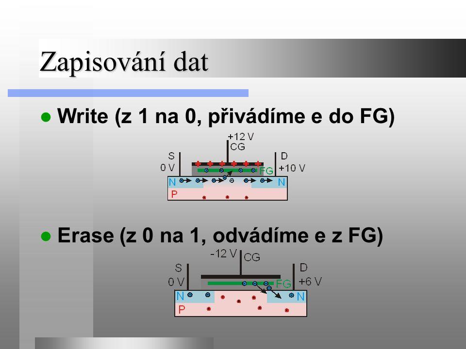 Zapisování dat Write (z 1 na 0, přivádíme e do FG) Erase (z 0 na 1, odvádíme e z FG)