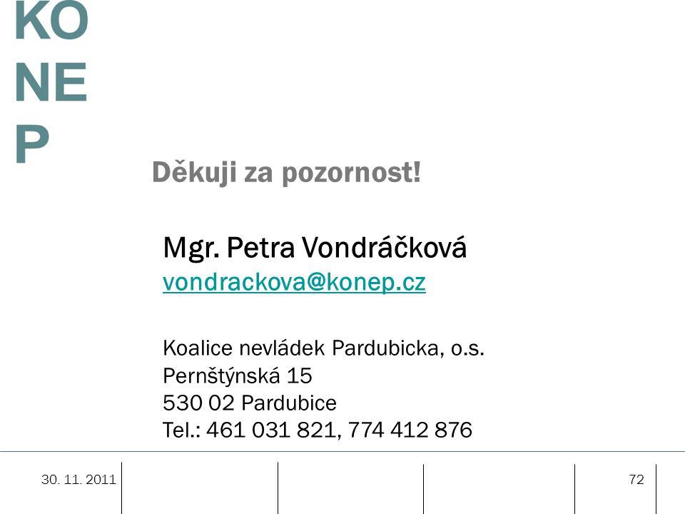 72 Děkuji za pozornost! Mgr. Petra Vondráčková vondrackova@konep.cz Koalice nevládek Pardubicka, o.s. Pernštýnská 15 530 02 Pardubice Tel.: 461 031 82
