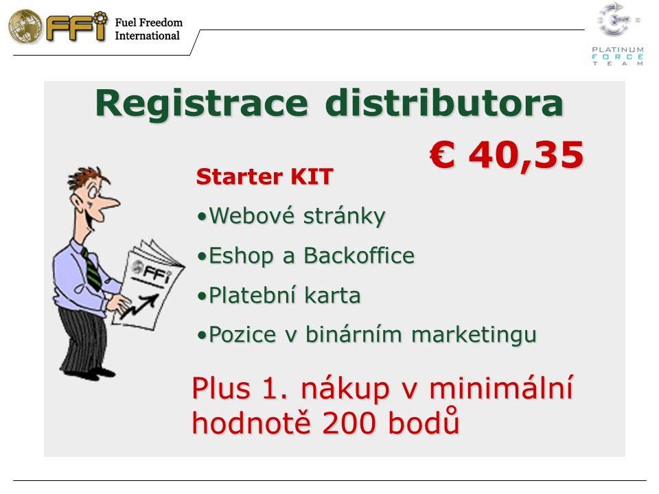 Registrace distributora Starter KIT Webové stránkyWebové stránky Eshop a BackofficeEshop a Backoffice Platební kartaPlatební karta Pozice v binárním marketinguPozice v binárním marketingu € 40,35 Plus 1.