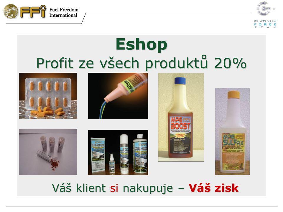 Eshop Profit ze všech produktů 20% Váš klient si nakupuje – Váš zisk