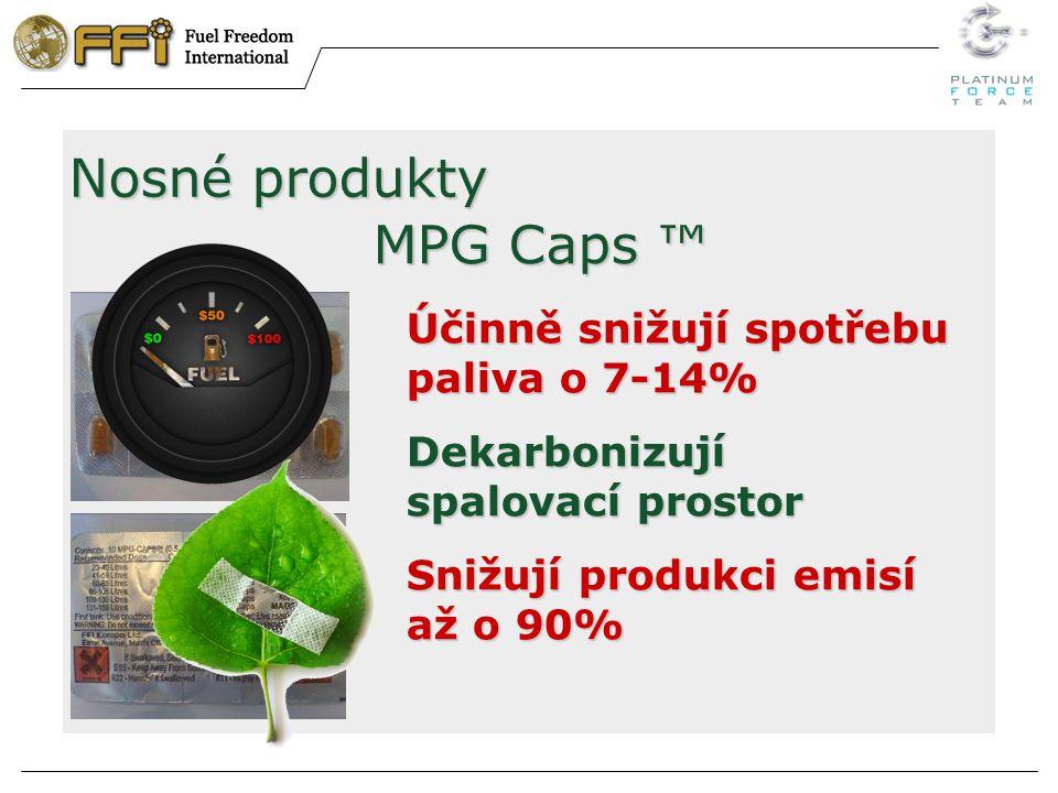 Nosné produkty MPG Caps ™ Účinně snižují spotřebu paliva o 7-14% Dekarbonizují spalovací prostor Snižují produkci emisí až o 90%