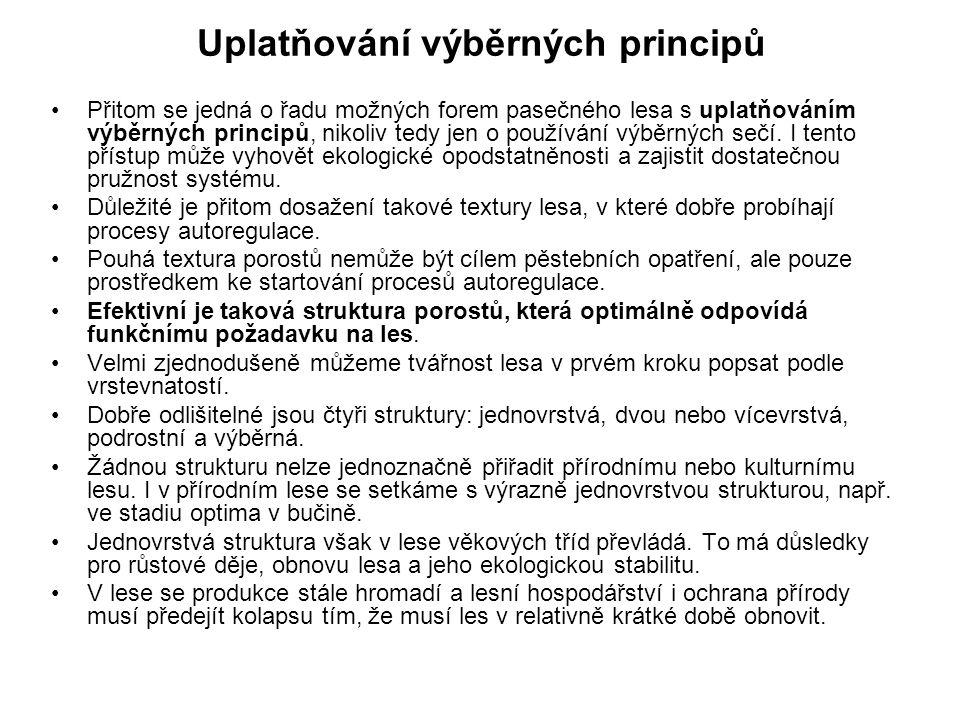 Uplatňování výběrných principů Přitom se jedná o řadu možných forem pasečného lesa s uplatňováním výběrných principů, nikoliv tedy jen o používání výb