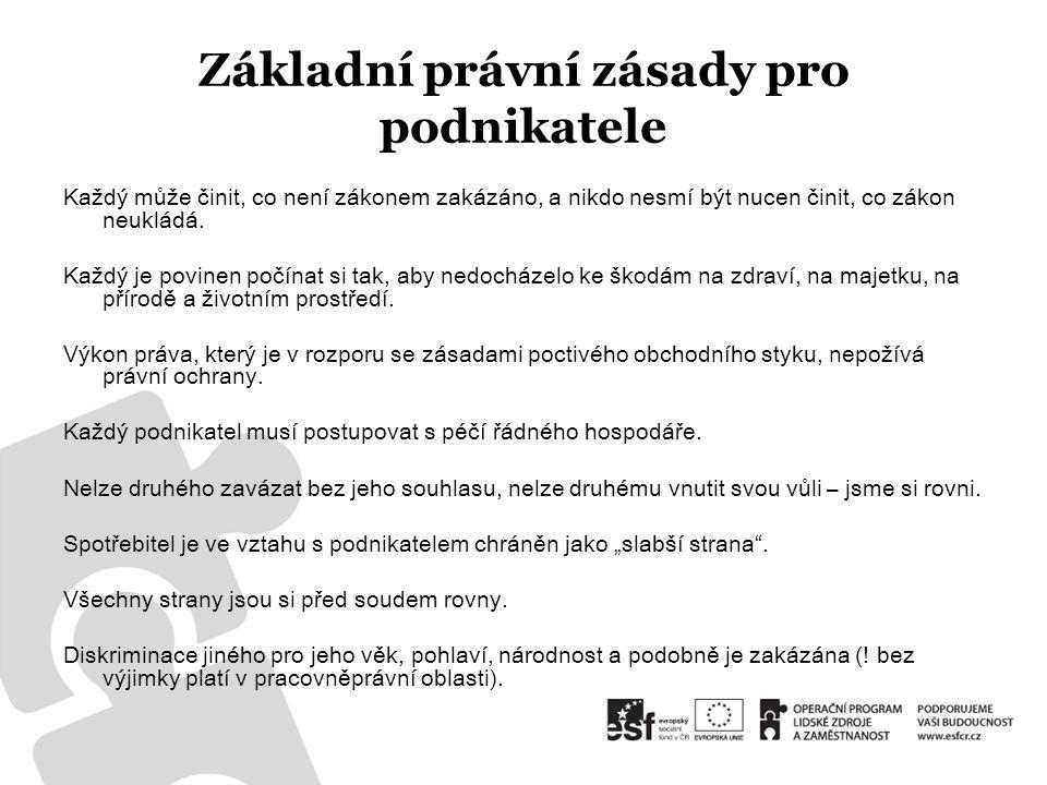 Základní právní předpisy pro podnikatele 1.obchodní zákoník – z.