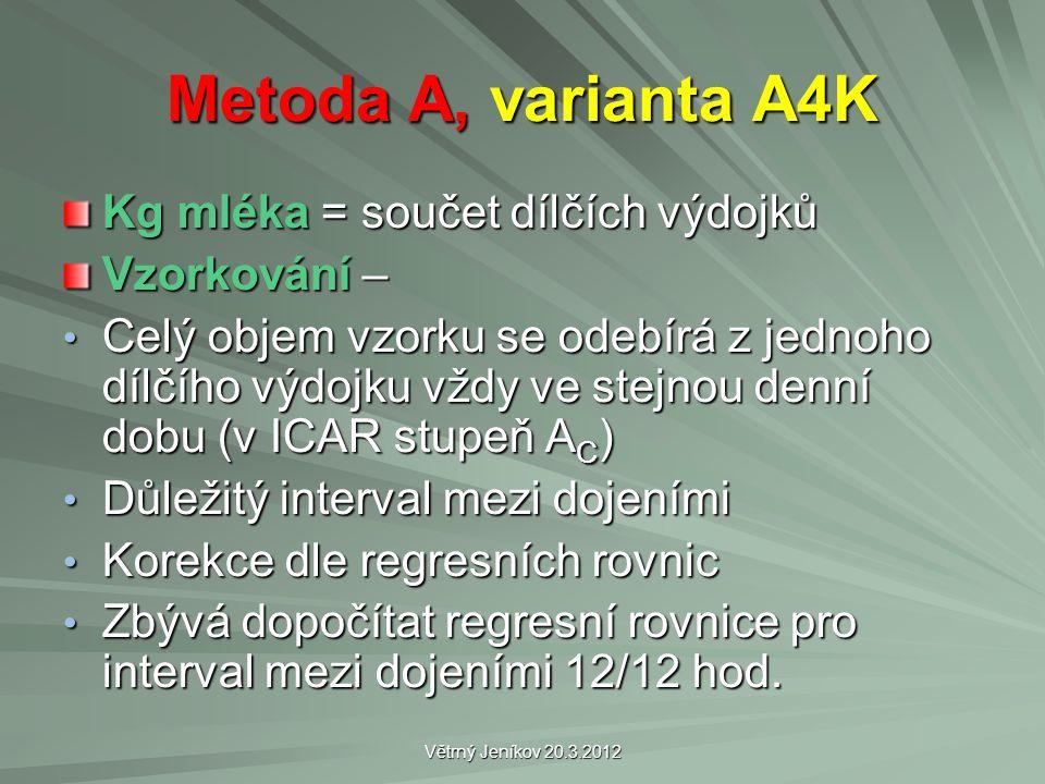 Větrný Jeníkov 20.3.2012 Metoda A, varianta A4K Kg mléka = součet dílčích výdojků Vzorkování – Celý objem vzorku se odebírá z jednoho dílčího výdojku