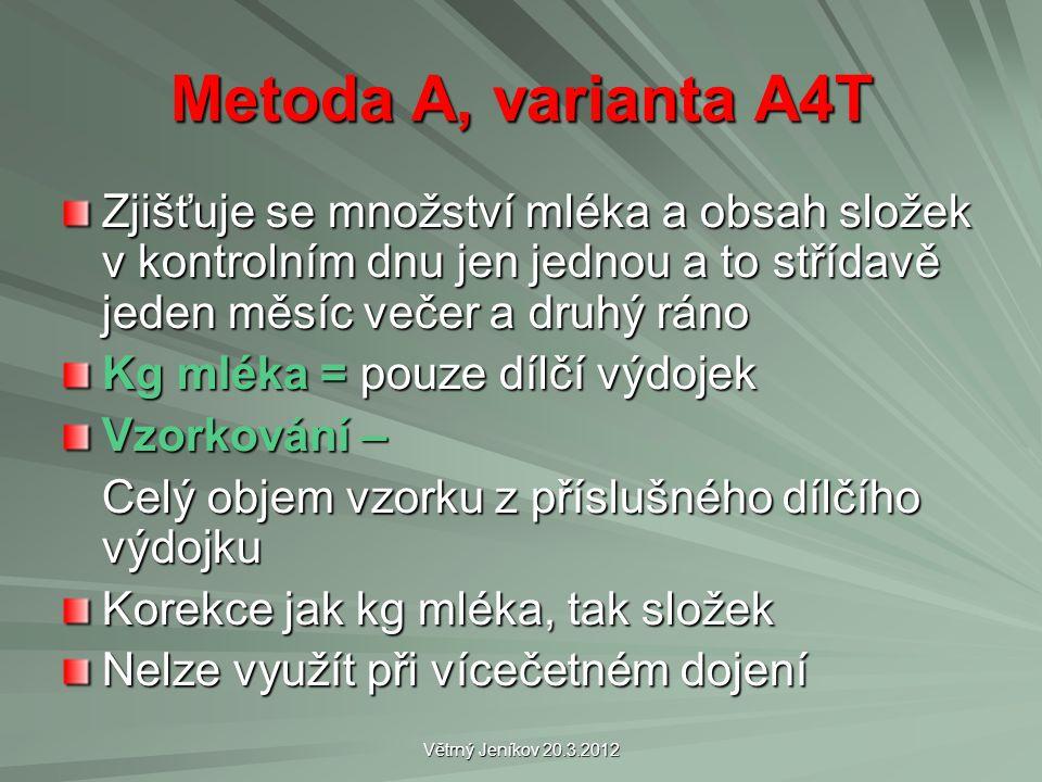 Větrný Jeníkov 20.3.2012 Metoda A, varianta A4T Zjišťuje se množství mléka a obsah složek v kontrolním dnu jen jednou a to střídavě jeden měsíc večer