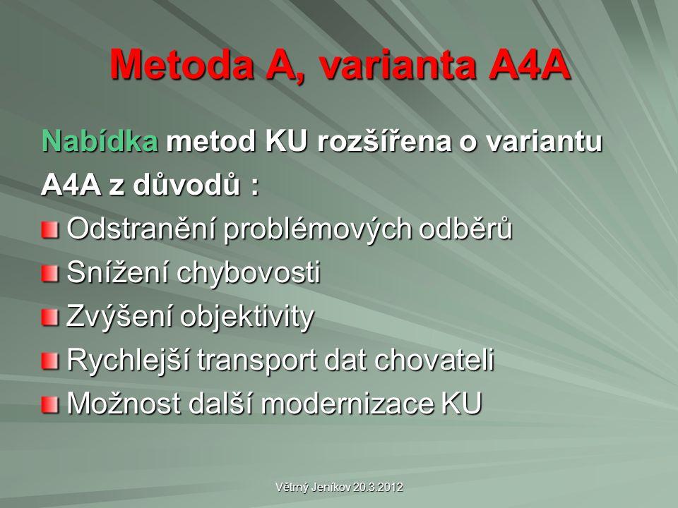 Větrný Jeníkov 20.3.2012 Metoda A, varianta A4A Nabídka metod KU rozšířena o variantu A4A z důvodů : Odstranění problémových odběrů Snížení chybovosti