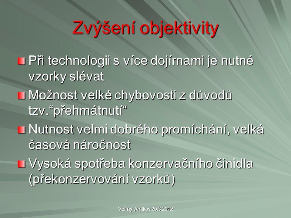 """Větrný Jeníkov 20.3.2012 Zvýšení objektivity Při technologii s více dojírnami je nutné vzorky slévat Možnost velké chybovosti z důvodů tzv.""""přehmátnut"""