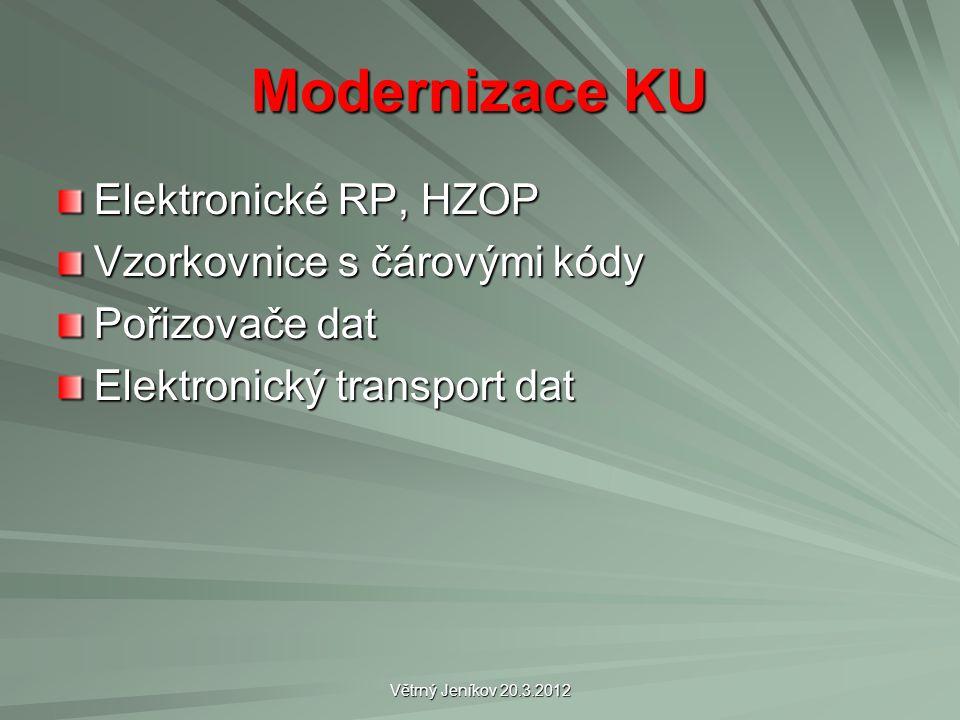 Modernizace KU Elektronické RP, HZOP Vzorkovnice s čárovými kódy Pořizovače dat Elektronický transport dat