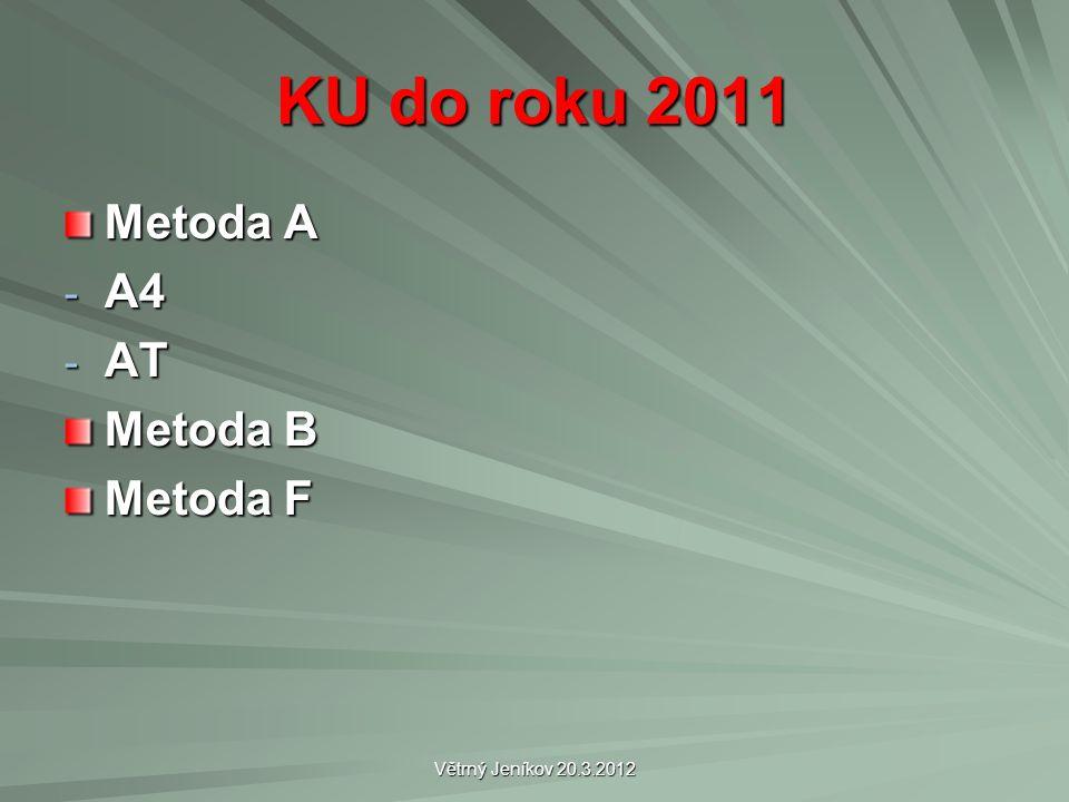 Větrný Jeníkov 20.3.2012 KU do roku 2011 Metoda A - A4 - AT Metoda B Metoda F
