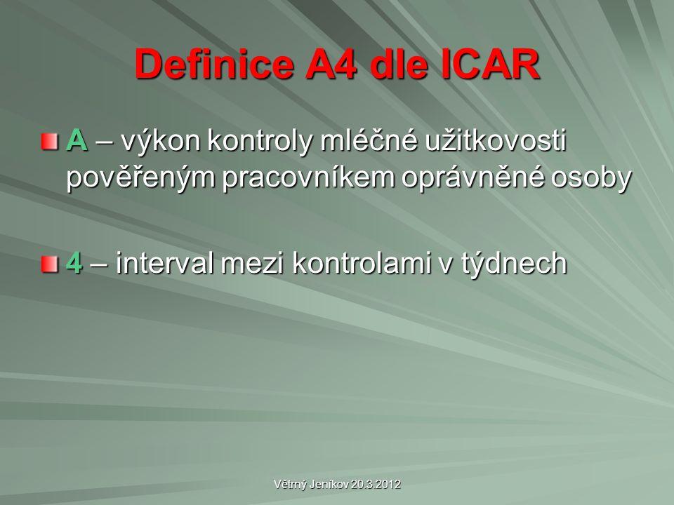 Větrný Jeníkov 20.3.2012 Definice A4 dle ICAR A – výkon kontroly mléčné užitkovosti pověřeným pracovníkem oprávněné osoby 4 – interval mezi kontrolami v týdnech