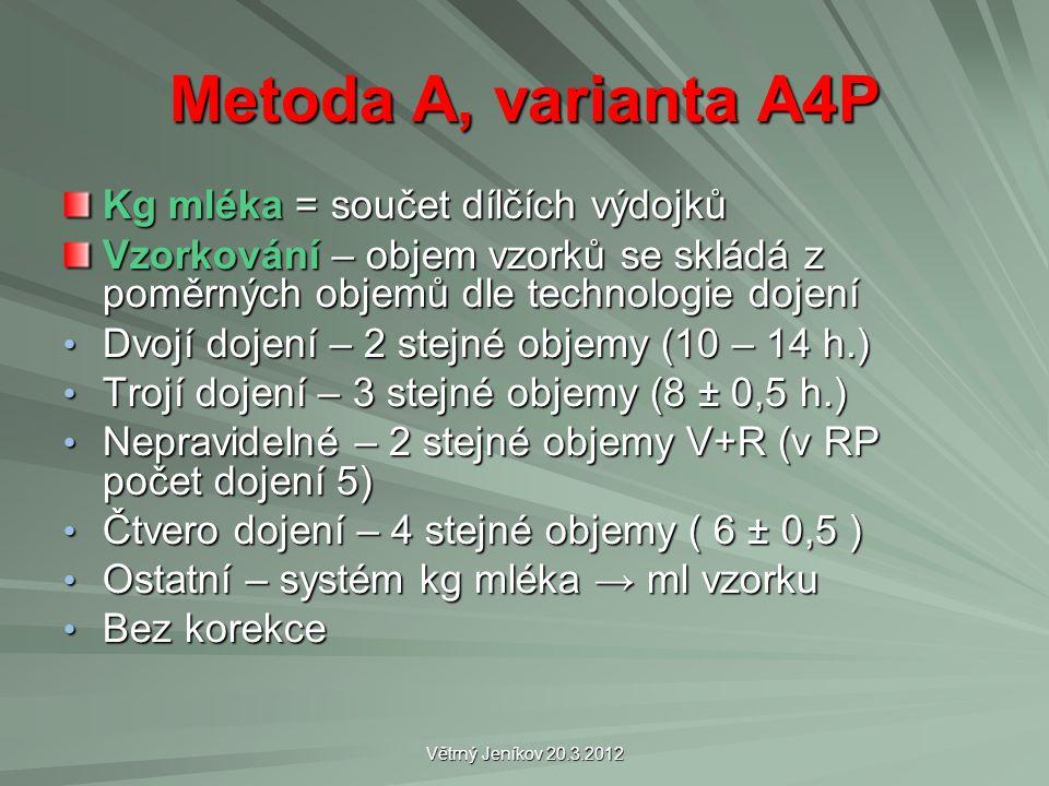 Větrný Jeníkov 20.3.2012 Metoda A, varianta A4P Kg mléka = součet dílčích výdojků Vzorkování – objem vzorků se skládá z poměrných objemů dle technolog