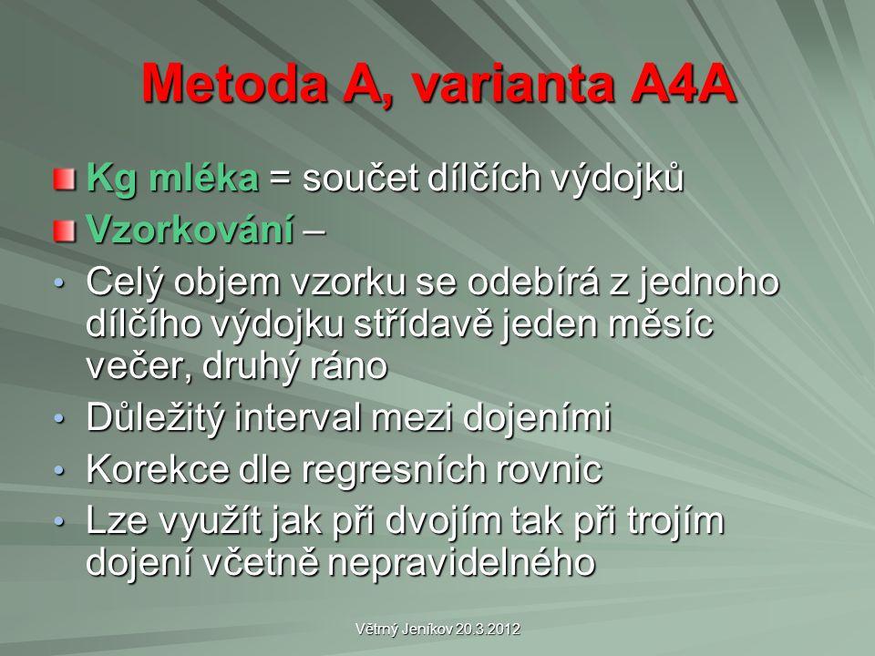 Větrný Jeníkov 20.3.2012 Metoda A, varianta A4A Kg mléka = součet dílčích výdojků Vzorkování – Celý objem vzorku se odebírá z jednoho dílčího výdojku