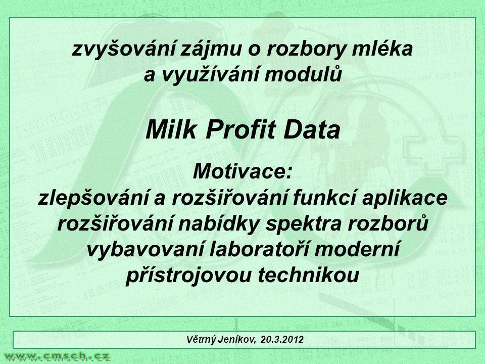 zvyšování zájmu o rozbory mléka a využívání modulů Milk Profit Data Motivace: zlepšování a rozšiřování funkcí aplikace rozšiřování nabídky spektra roz