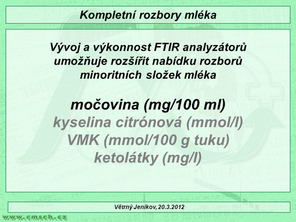 Tuk, (g/100g, %) Bílkovina, (g/100g, %) Laktóza, (g/100g, %) TPS (g/100g, %) Močovina (mg/100 ml) Somatické buňky (tisíce v 1 ml) Poměr T/B Vztah močovina a bílkovina kyselina citrónová (mmol/l) VMK (mmol/100 g tuku) ketolátky (mg/l) Větrný Jeníkov, 20.3.2012 Kompletní rozbory mléka