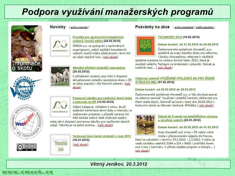 Podpora využívání manažerských programů Větrný Jeníkov, 20.3.2012