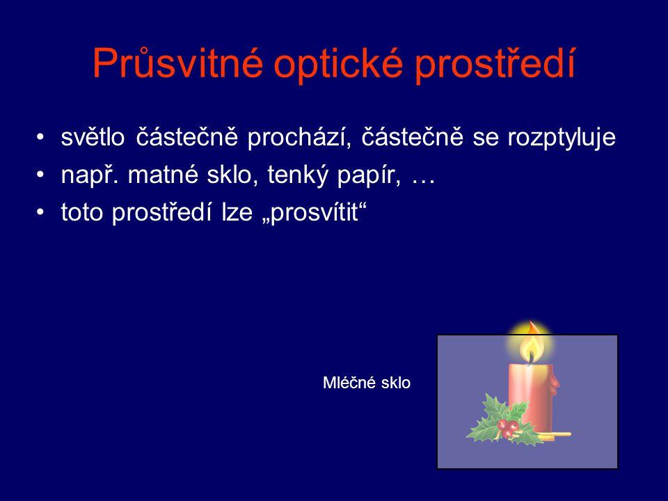 Průsvitné optické prostředí světlo částečně prochází, částečně se rozptyluje např.