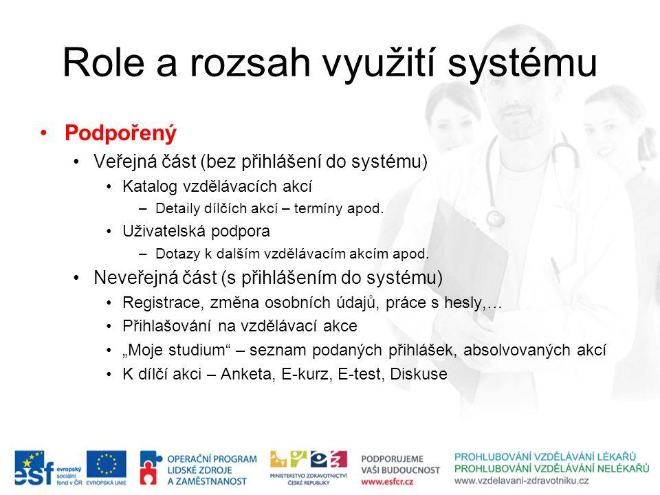 Role a rozsah využití systému Podpořený Veřejná část (bez přihlášení do systému) Katalog vzdělávacích akcí –Detaily dílčích akcí – termíny apod. Uživa
