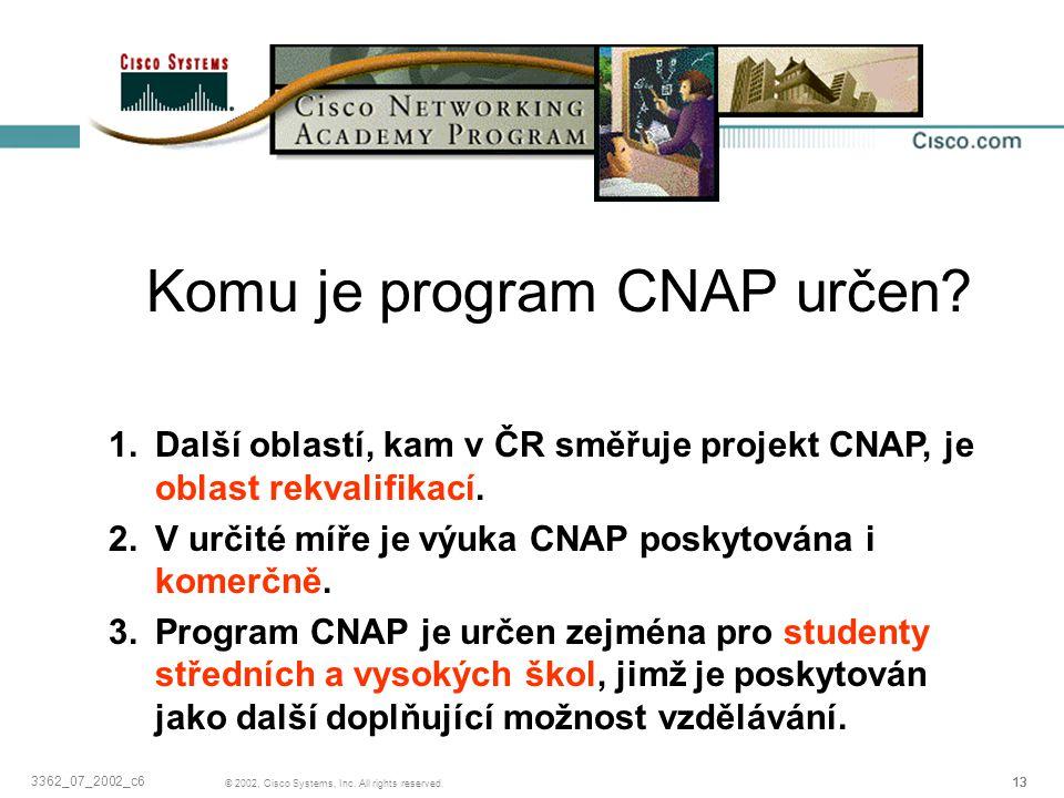 13 © 2002, Cisco Systems, Inc. All rights reserved. 3362_07_2002_c6 Komu je program CNAP určen? 1.Další oblastí, kam v ČR směřuje projekt CNAP, je obl