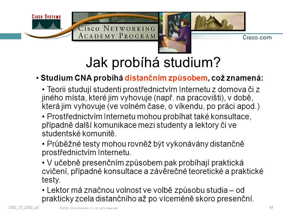 17 © 2002, Cisco Systems, Inc. All rights reserved. 3362_07_2002_c6 Jak probíhá studium? Studium CNA probíhá distančním způsobem, což znamená: Teorii