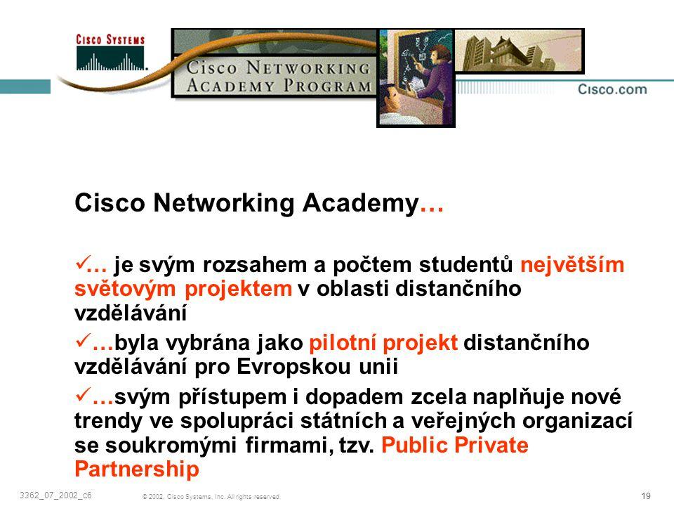 19 © 2002, Cisco Systems, Inc. All rights reserved. 3362_07_2002_c6 Závěrem… Cisco Networking Academy… … je svým rozsahem a počtem studentů největším