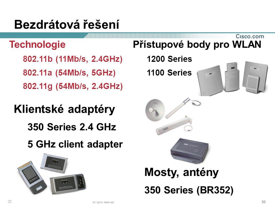 30 © 2002, Cisco Systems, Inc. All rights reserved. 3362_07_2002_c6 Bezdrátová řešení Přístupové body pro WLAN 1200 Series 1100 Series Mosty, antény 3