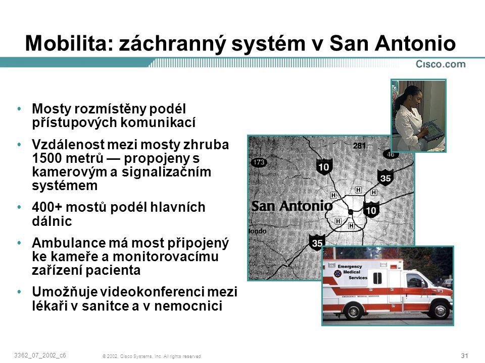 31 © 2002, Cisco Systems, Inc. All rights reserved. 3362_07_2002_c6 Mobilita: záchranný systém v San Antonio Mosty rozmístěny podél přístupových komun