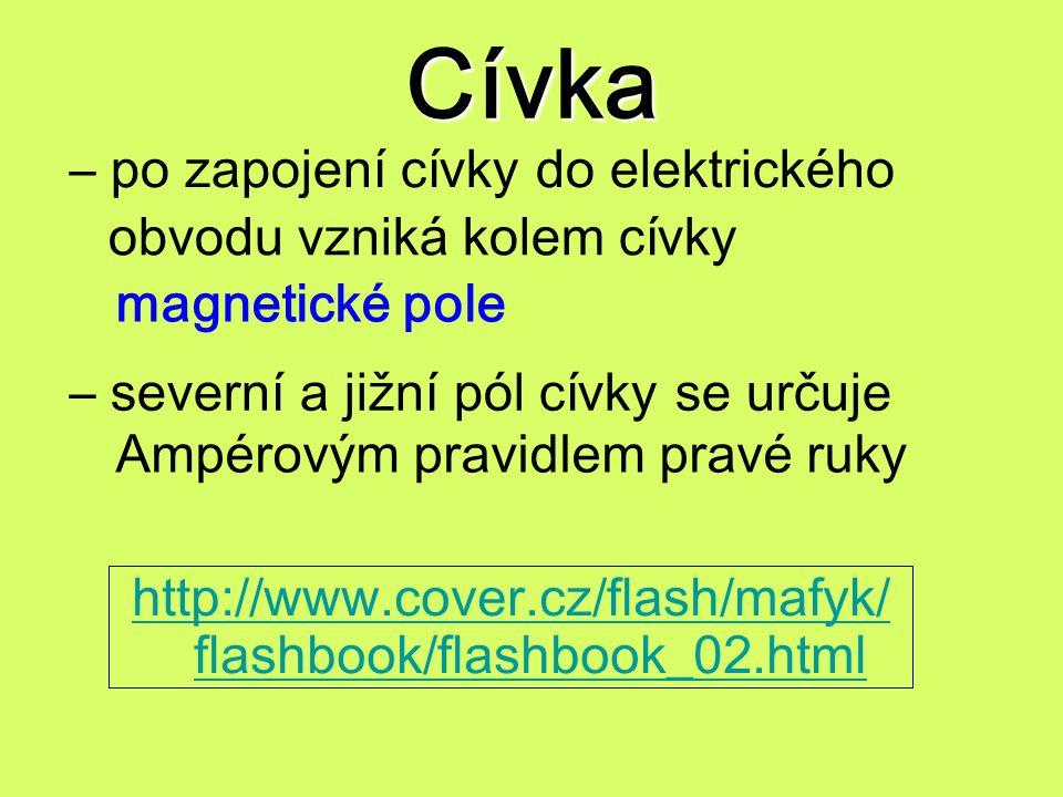Cívka http://www.cover.cz/flash/mafyk/ flashbook/flashbook_02.html – po zapojení cívky do elektrického obvodu vzniká kolem cívky magnetické pole – sev
