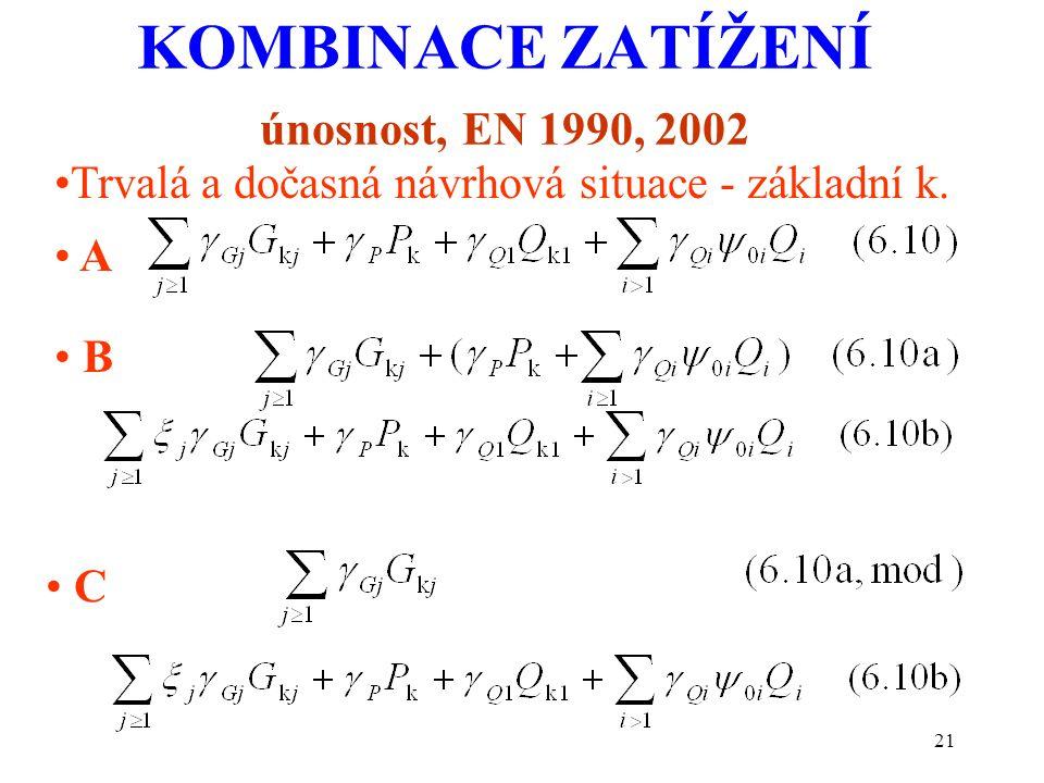 21 KOMBINACE ZATÍŽENÍ únosnost, EN 1990, 2002 Trvalá a dočasná návrhová situace - základní k. B C A