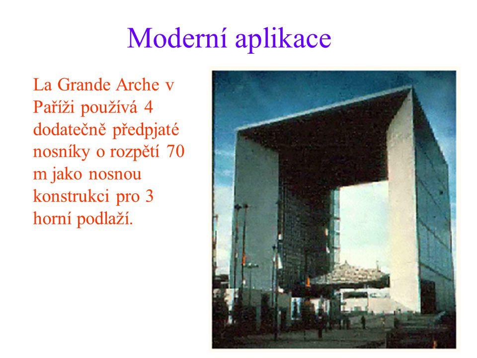 Moderní aplikace La Grande Arche v Paříži používá 4 dodatečně předpjaté nosníky o rozpětí 70 m jako nosnou konstrukci pro 3 horní podlaží.