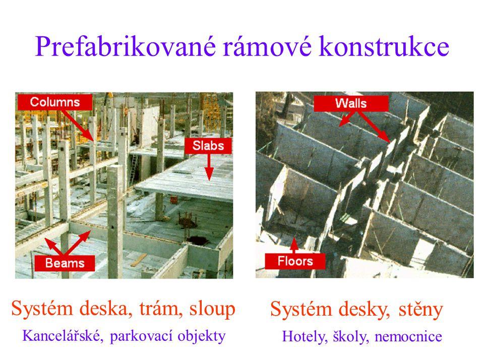 Prefabrikované rámové konstrukce Systém deska, trám, sloup Kancelářské, parkovací objekty Systém desky, stěny Hotely, školy, nemocnice