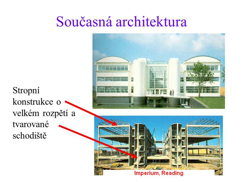 Současná architektura Stropní konstrukce o velkém rozpětí a tvarované schodiště