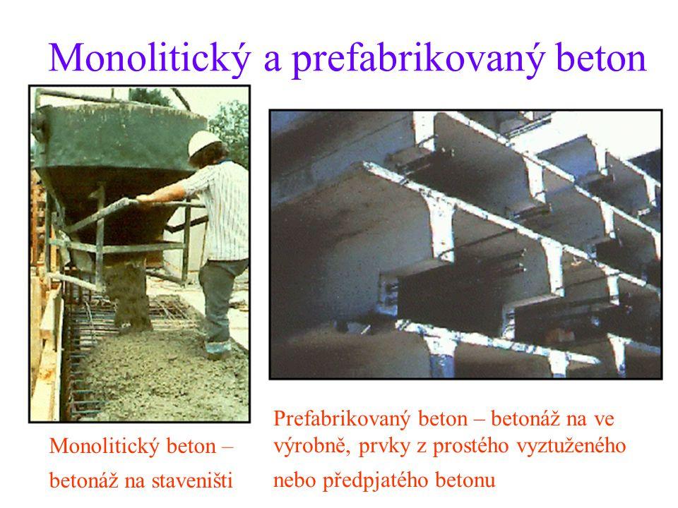 Monolitický a prefabrikovaný beton Monolitický beton – betonáž na staveništi Prefabrikovaný beton – betonáž na ve výrobně, prvky z prostého vyztuženéh
