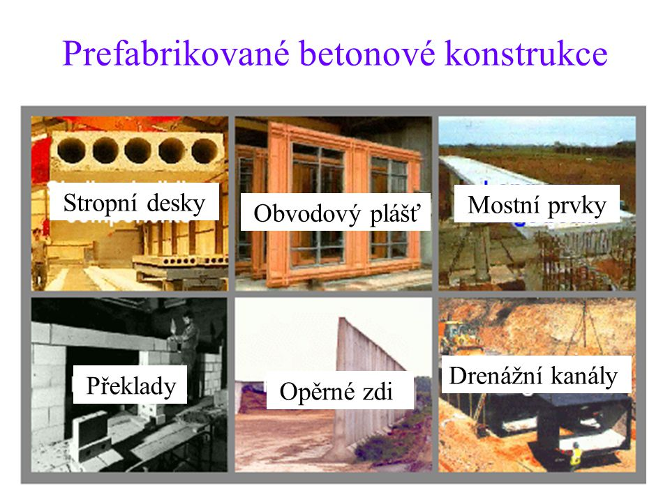 Prefabrikované betonové konstrukce Překlady Stropní desky Obvodový plášť Opěrné zdi Mostní prvky Drenážní kanály