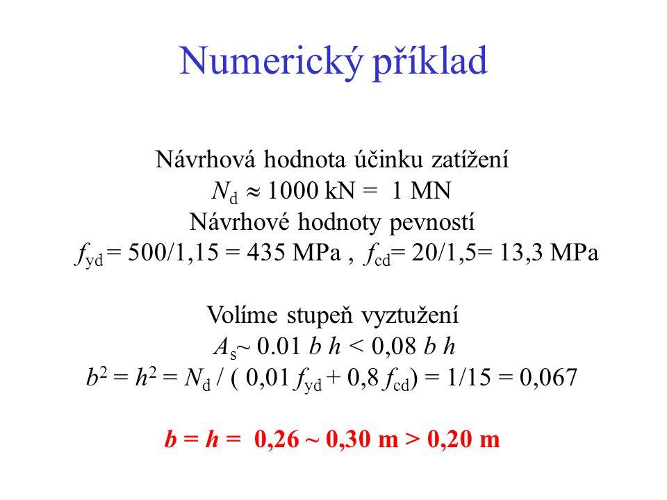 Centrický zatížený krátký sloup Podmínka pro výztuž: 0,003 < A s < 0,08 N d = 0,8 A c f cd + A s f yd = 0,8 b h f cd + A s f yd V některých pramenech omezení f yd < 400 MPa Návrh rozměru čtvercového sloupu: b 2 = h 2 = (N d - A s f yd ) / (0,8 f cd ) nebo volíme A s ~ 0.01 b h b 2 = h 2 = N d / ( 0,01 f yd + 0,8 f cd ) b > 0,20 m, běžně 0,30 až 0,50 m b h AsAs a Pro velmi malou výstřednost a = 12 0,5 l 0 /h l 0 /7, l 0 je vzpěrná délka, u vetknutých sloupů l 0 ~ 0,7 l, h > l/10