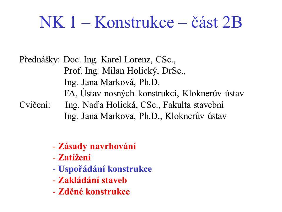 NK 1 – Konstrukce – část 2B - Zásady navrhování - Zatížení - Uspořádání konstrukce - Zakládání staveb - Zděné konstrukce Přednášky: Doc. Ing. Karel Lo