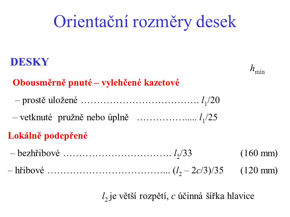 Orientační rozměry desek DESKY Obousměrně pnuté – vylehčené kazetové – prostě uložené ………………………………. l 1 /20 – vetknuté pružně nebo úplně ……………..... l