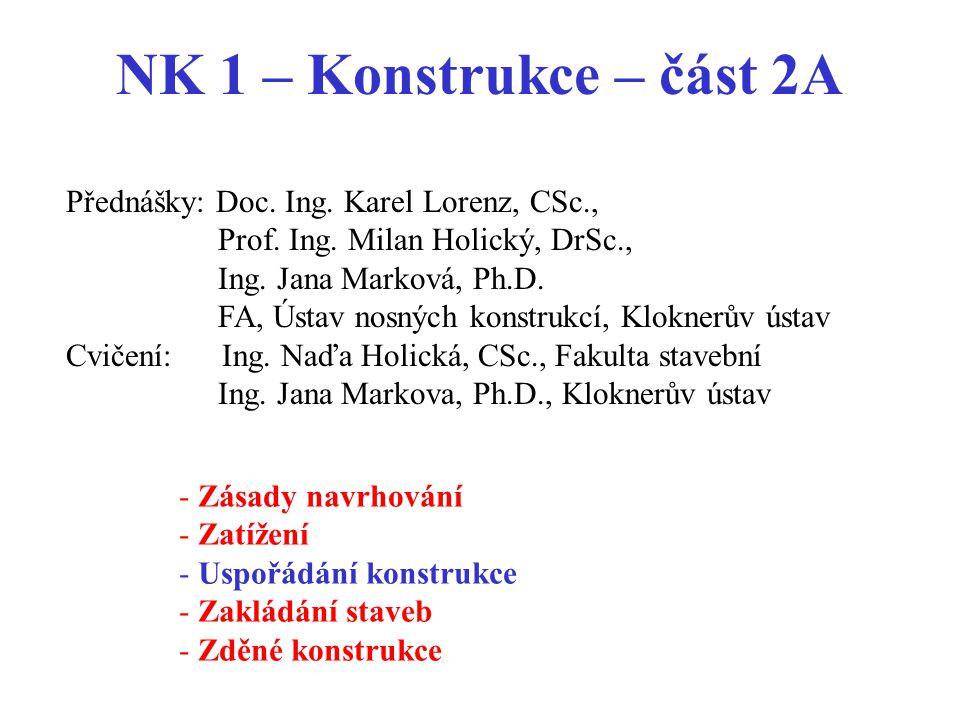 NK 1 – Konstrukce – část 2A - Zásady navrhování - Zatížení - Uspořádání konstrukce - Zakládání staveb - Zděné konstrukce Přednášky: Doc. Ing. Karel Lo