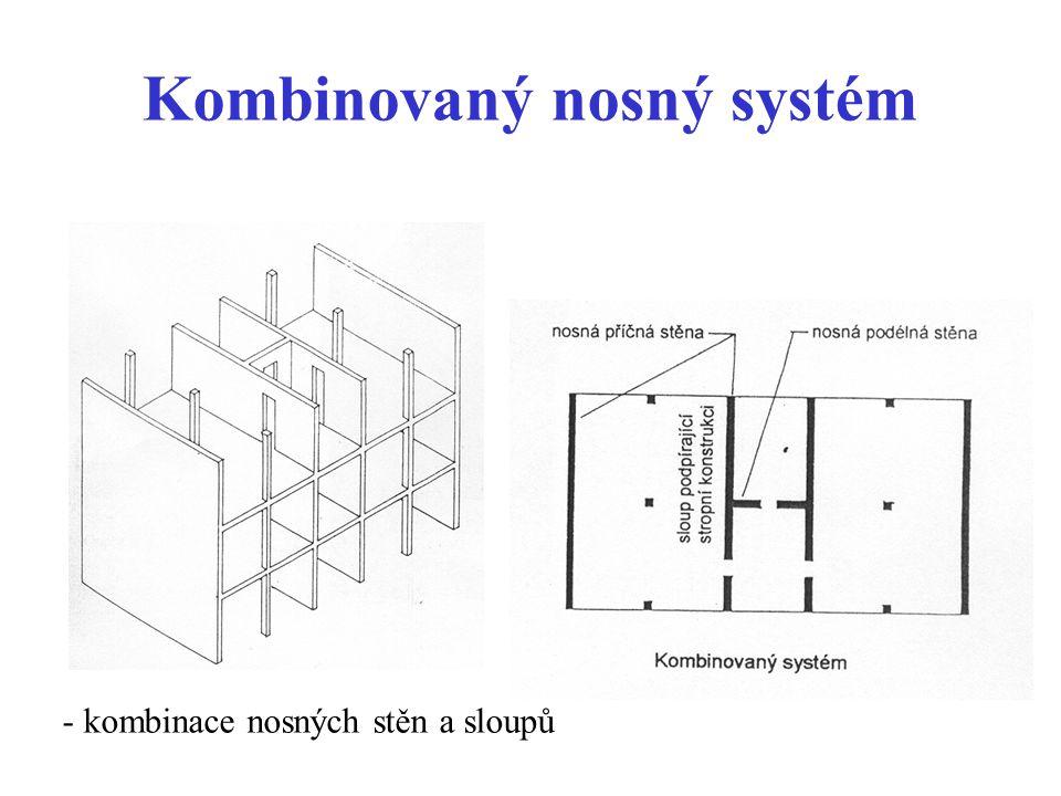 Kombinovaný nosný systém - kombinace nosných stěn a sloupů