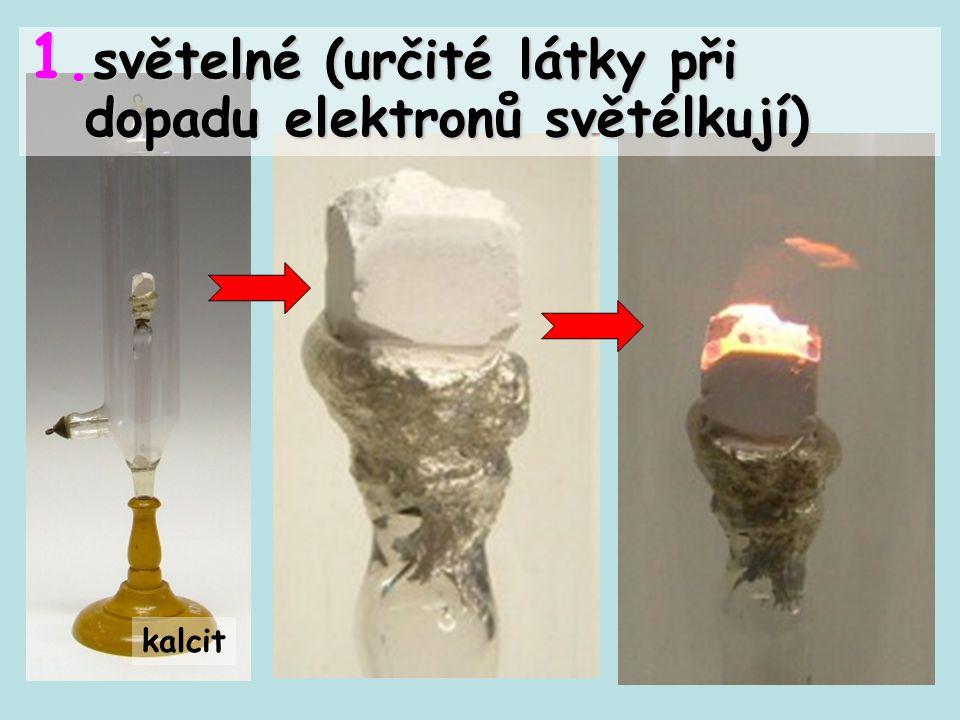 kalcit 1. světelné (určité látky při dopadu elektronů světélkují)