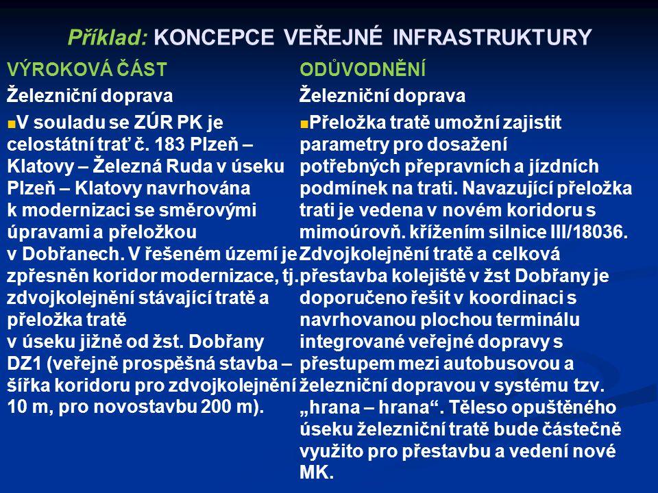 Příklad: KONCEPCE VEŘEJNÉ INFRASTRUKTURY VÝROKOVÁ ČÁST Železniční doprava V souladu se ZÚR PK je celostátní trať č. 183 Plzeň – Klatovy – Železná Ruda