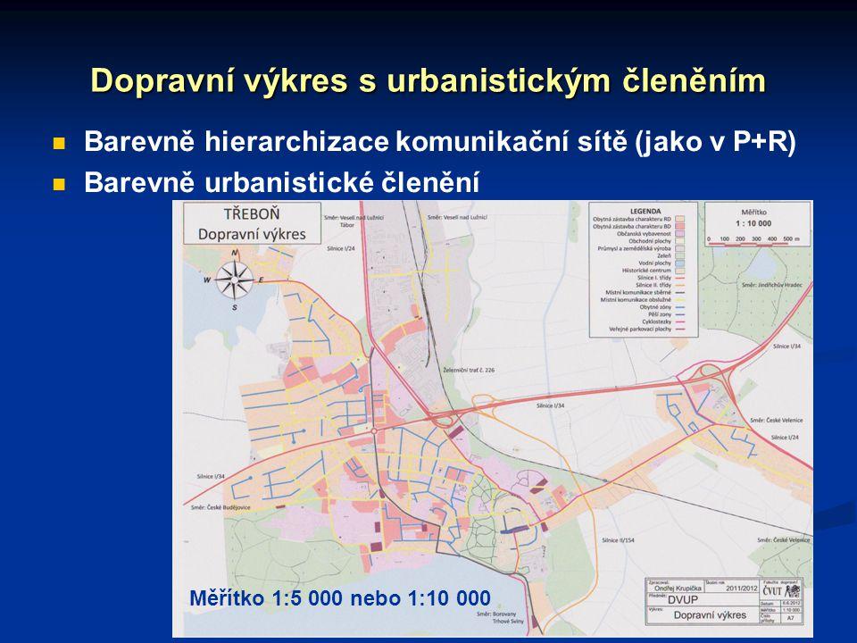 Dopravní výkres s urbanistickým členěním Barevně hierarchizace komunikační sítě (jako v P+R) Barevně urbanistické členění Měřítko 1:5 000 nebo 1:10 00