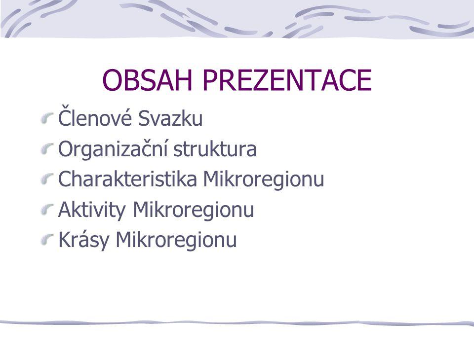 OBSAH PREZENTACE Členové Svazku Organizační struktura Charakteristika Mikroregionu Aktivity Mikroregionu Krásy Mikroregionu